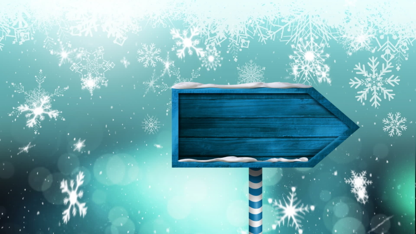 Animation of snowflakes and stars falling and blue wooden arrow sign board on blue background | Shutterstock HD Video #1040143136