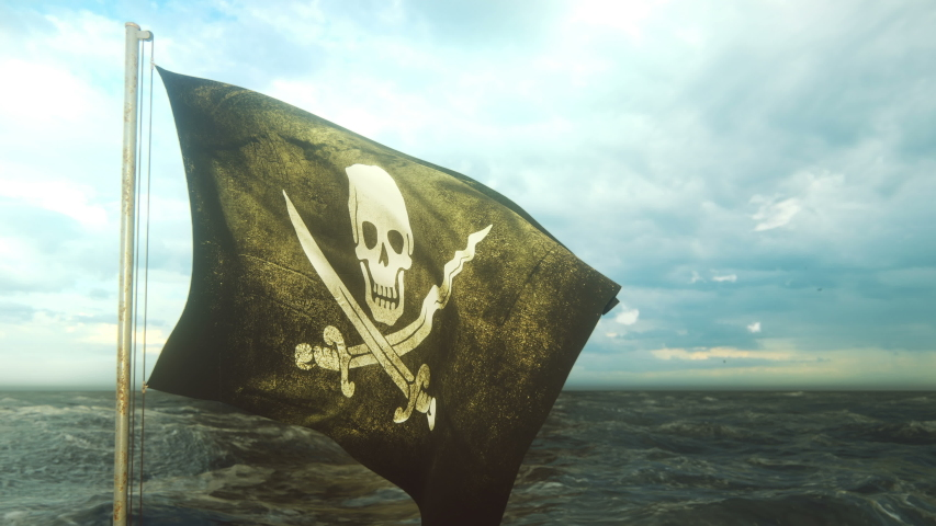 Pirate flag with Jolly Roger. Pirate flag in the wind with cloudy sky on the background of the sea before the storm. Looped Animation. Royalty-Free Stock Footage #1040143682