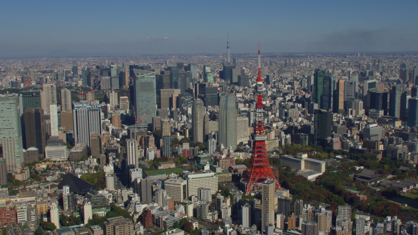 Tokyo, Japan circa-2018. Aerial view of Tokyo Tower and city of Tokyo. Shot from helicopter with RED camera. | Shutterstock HD Video #1040155520