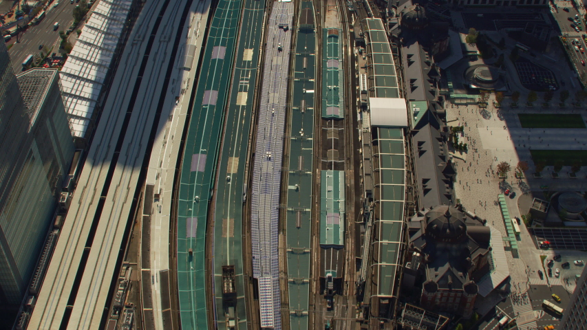 Tokyo, Japan circa-2018. Overhead aerial view of Tokyo Station. Shot from helicopter with RED camera. | Shutterstock HD Video #1040155550