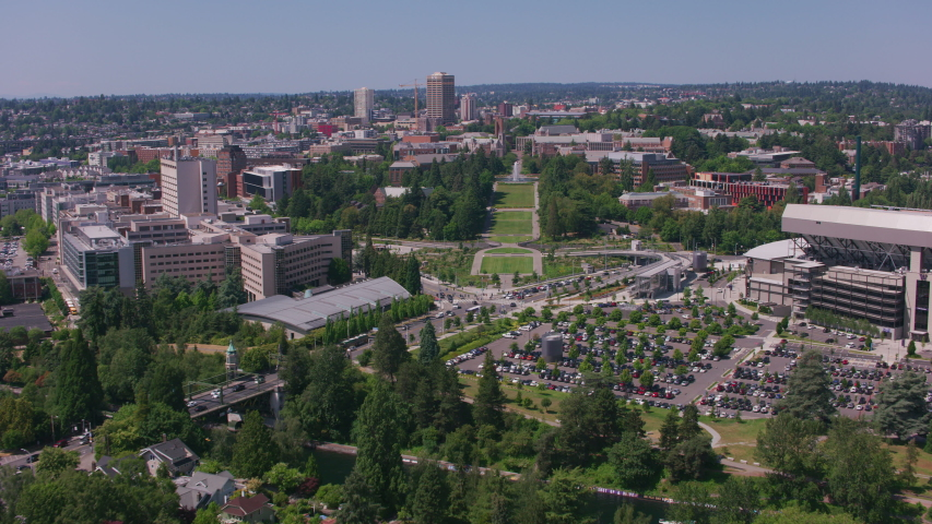 Seattle, Washington circa-2018. University of Washington campus, aerial view. Shot from helicopter with Cineflex gimbal and RED Epic-W camera.