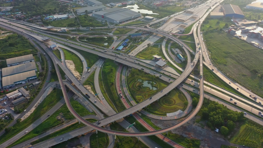 Aerial view and Top view. Traffic of expressways, motorways and highways | Shutterstock HD Video #1040160173