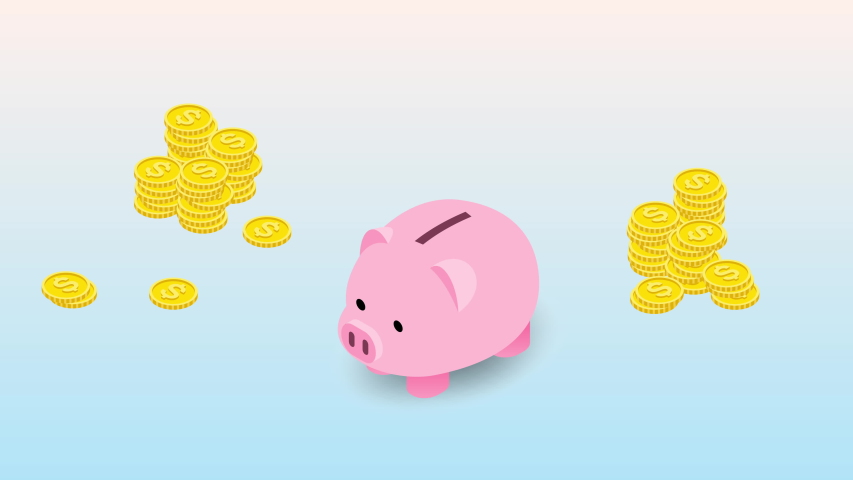 Isometric design of piggy bank with coins and falling coin. The money collecting concept, deposit for future invesment in financial institution. | Shutterstock HD Video #1040165570