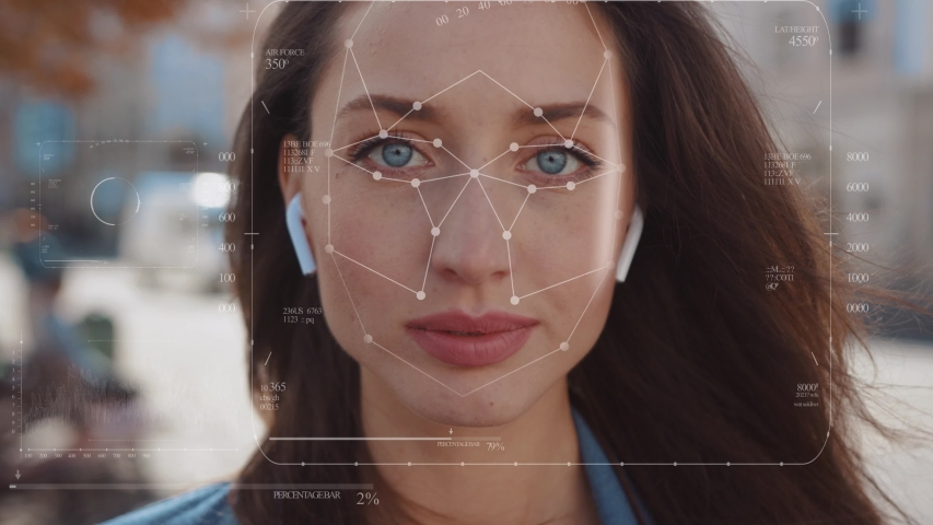 Future. Face Detection. Technological 3d Scanning. Biometric Facial Recognition. Face Id. Technological Scanning Of The Face Of Beautiful Caucasian Woman In The City For Facial Recognition. Shoted By Royalty-Free Stock Footage #1040189054