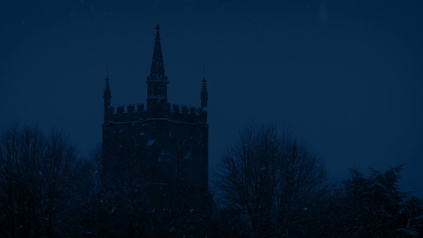 Church In Snowfall Late At Night   Shutterstock HD Video #1040222726