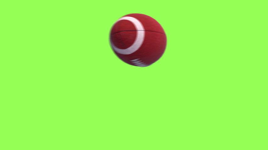 American football kick Throw in Motion on Green Screen. Looped American football  3d Animation Ball luma key black-white alpha