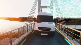 Autonomous Electric Van semi truck car driving on a highway with technology assistant tracking information, showing details. Visual effects clip