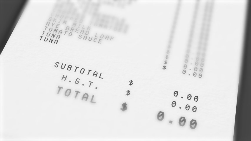 Animation of total costs on grocery receipt constantly growing. Extreme close up. Totals in Canadian Dollars, including HST.