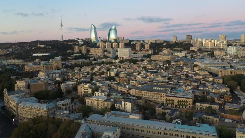 Drone Flight Over Baku, Azerbaijan, Old City at Sunrise