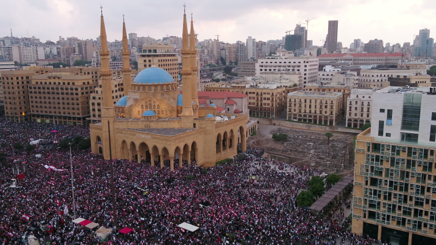 Beirut, Lebanon - October 28, 2019: Martyrs' Square during the Lebanese Revolution, against the current government, and against corruptions in the country