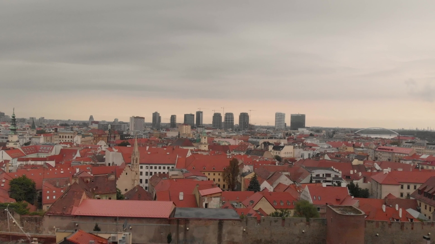 Aerial 4k 100 Mbps footage from Bratislava City, Europe.
