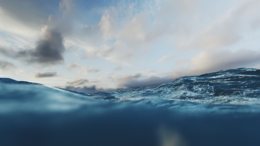 Rough Sea Loop 3D 4k  Animation loop of big waves in an agitated ocean. Camera goes underwater several times. New version, even more realistic with higher quality textures and liquid physics.