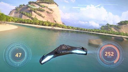 3d fake Video Game. Flying racing gameplay