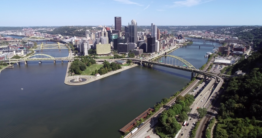 Pittsburgh, Pennsylvania. Daytime with business district and rivers in background | Shutterstock HD Video #1040308547