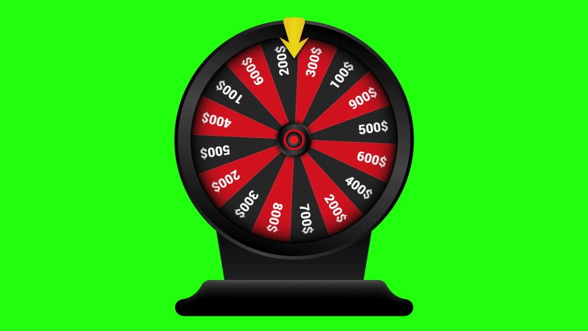 Realistic spinning fortune wheel animation, Casino online, lucky roulette.isolated on green background. 4K video