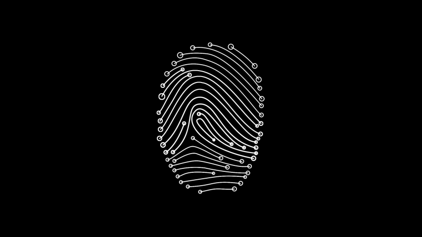 HUD fingerprint element animation with black png background. | Shutterstock HD Video #1040316569