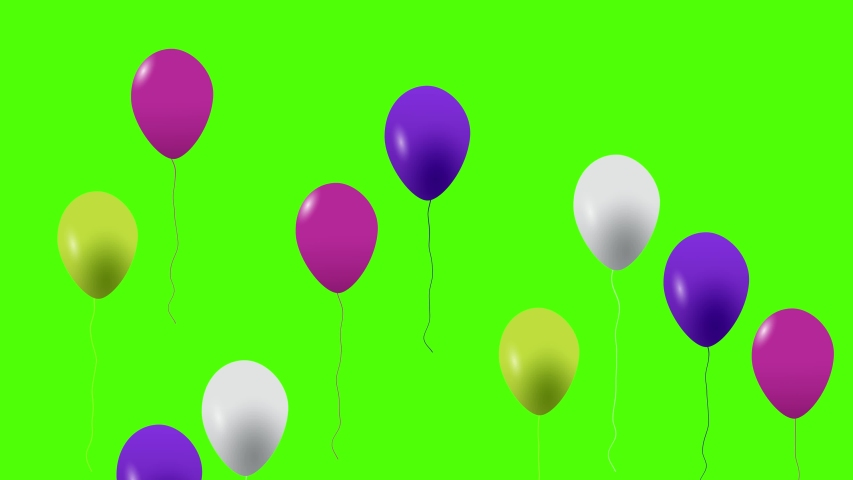 Colorful balloons flying in the air. Flying balloons. Multicolored balloons. Balloons rising in the air. Helium balloon with rope. Chroma key. Green screen. Ultra HD - 4K