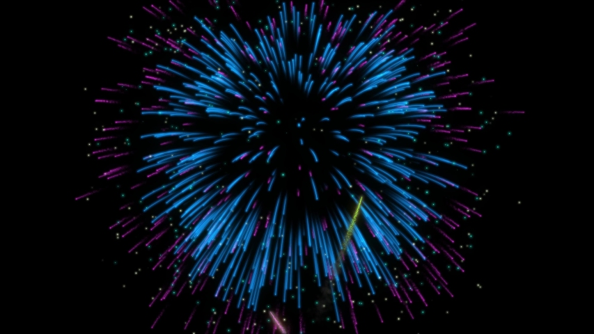 Realistic Colorful Fireworks Explosion On Black Background Animation With Alpha Matte