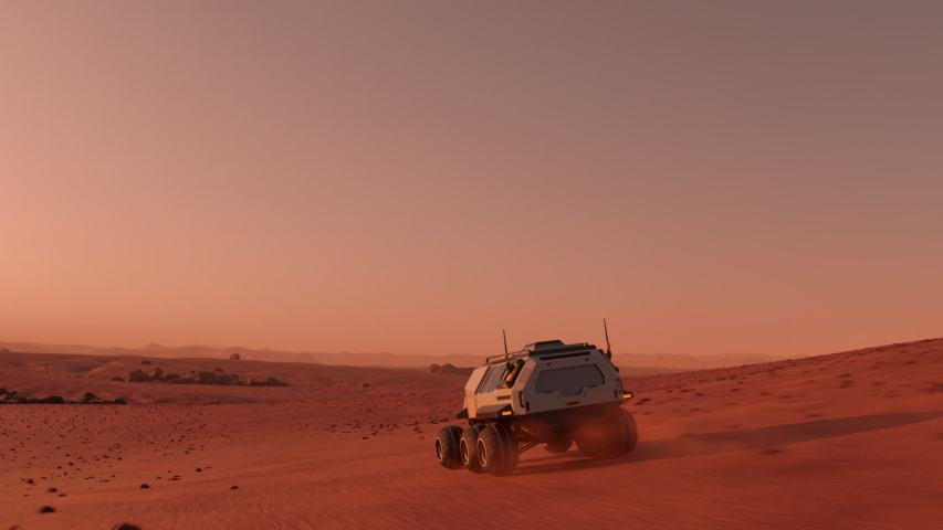 Mars rover with colonists travelling across the surface of Mars