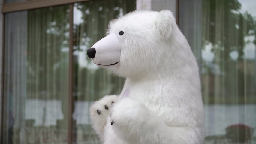 Person in a costume of white bear. Polar bear puppet outdoors party | Shutterstock HD Video #1040355119