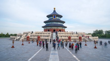 Time lapse 4k of the people wander in the Temple of Heaven at weekend, Beijing, China.
