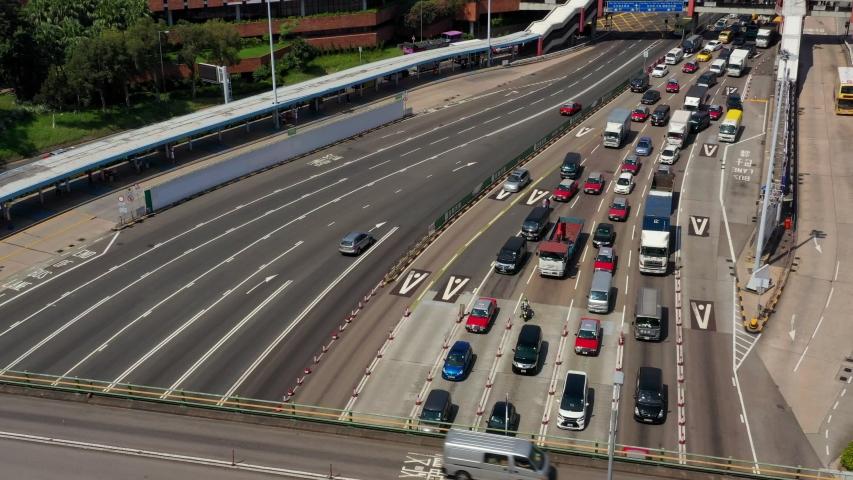Hung Hom, Hong Kong 25 October 2019: Top view of Hong Kong traffic #1040411264