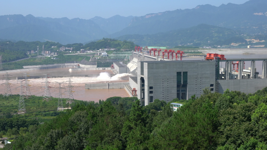 Three gorges dam view a famous hydroelectric dam during summertime in Sandouping Yichang Hubei China