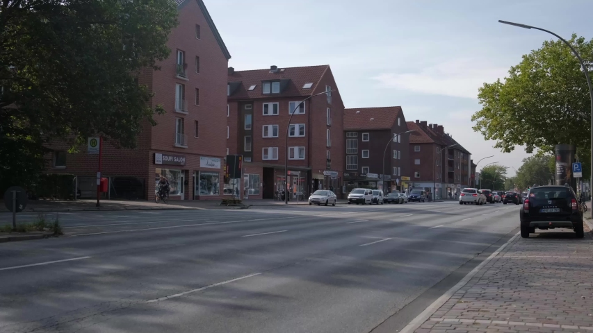 Hamburg / Germany-10.02.2019: City streets with parked cars. | Shutterstock HD Video #1040446763