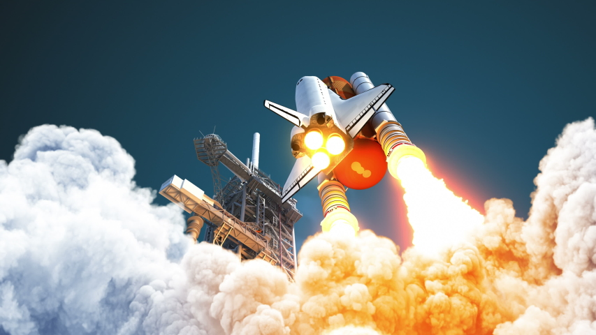 4K. Space Shuttle Takes Off. 3D Animation. Ultra High Definition. Slow Motion. 3840x2160. Royalty-Free Stock Footage #1040456540