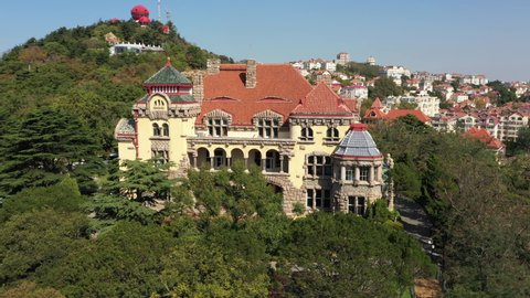 Aerial view of former German Governor's Residence, imperial era architecture in Qingdao, China