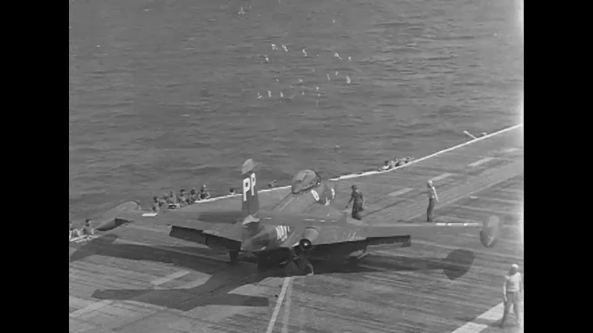 CIRCA 1954 - US Navy planes are launched from the USS Hornet.