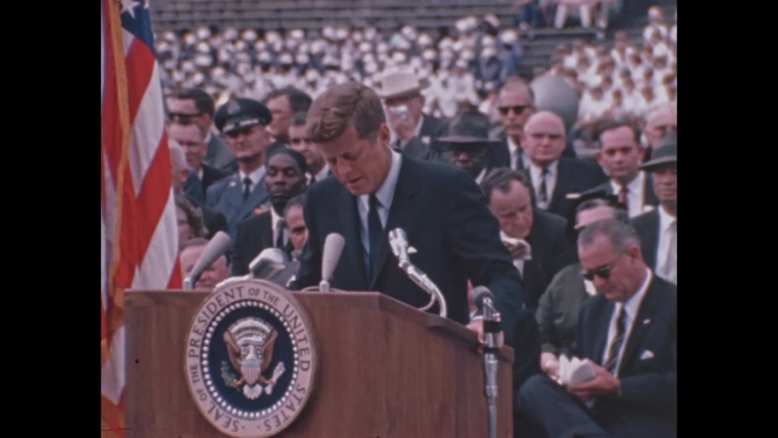CIRCA 1962 - President John F. Kennedy discusses the possibilities for peaceful, unifying exploration of space.