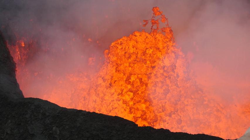 Volcano Lava Lake.  Static Shot Bubbling and Circulating Lava Close Up