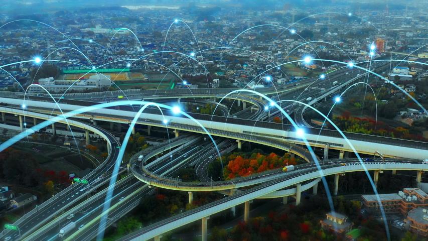 Modern transportation and communication network concept. | Shutterstock HD Video #1040504144