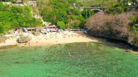 Padang Padang Beach, Bali. 4k Aerial view