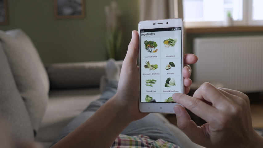 Woman Orders Food Home In An Online Store Using a Smartphone. Female Selects Vegetables in Grocery Online Store. Woman at Home Lying on Couch in Living Room Using Smartphone Buys in Internet Shop.  Royalty-Free Stock Footage #1040511548