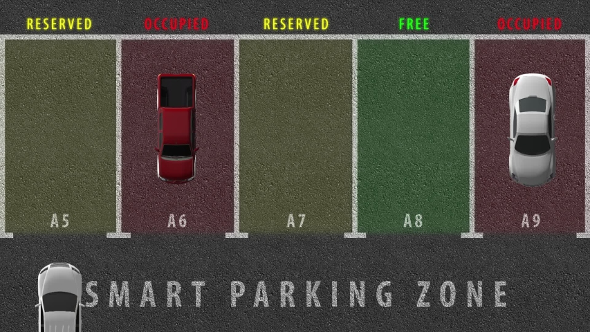 Smart parking zone for vehicles. Ability to reserve a parking space using the mobile application. Parking spots are highlighted in different colors. Cars occupy and free up parking spaces Royalty-Free Stock Footage #1040511929