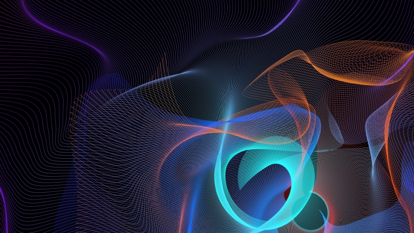 Beams of Multicolored Light Abstract Motion Background. Fantastic lines bend on black. | Shutterstock HD Video #1040515586