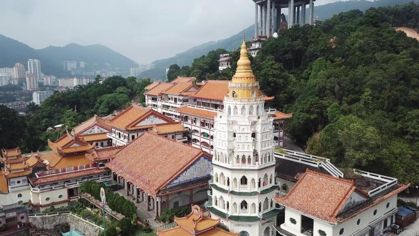 George Town, Penang/Malaysia - Jun 26 2019: Aerial view tourist visit to pagoda Kek Lok Si.