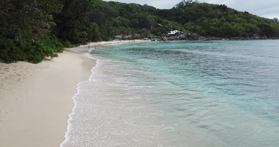 Seychelles beach. sand and ocen. beautiful tropical seashore by indian ocean.