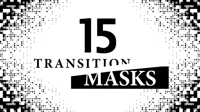 Transition Masks With a Moving Digital Pixelated Pattern. 15 Versions of Modern Luma Mattes or Alpha Channels. Transition Black and White Masks Templates in 4K for Editing Footages. #1040535536