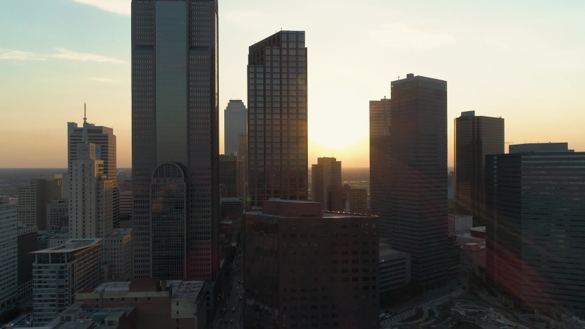 4K Dallas Downtown Drone Aerial Dolly Left at Sunset, Dallas Texas