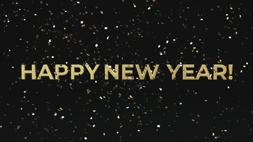 Happy New Year confetti season's greetings video card. 4K animation that shimmers and glitters you into the new year.
