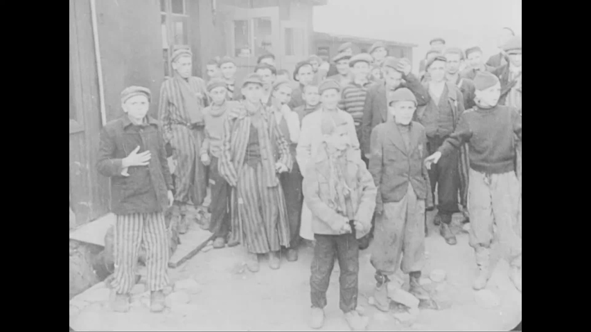 CIRCA 1940s - Emaciated surviving inmates of the Buchenwald concentration camp, World War II 1940s