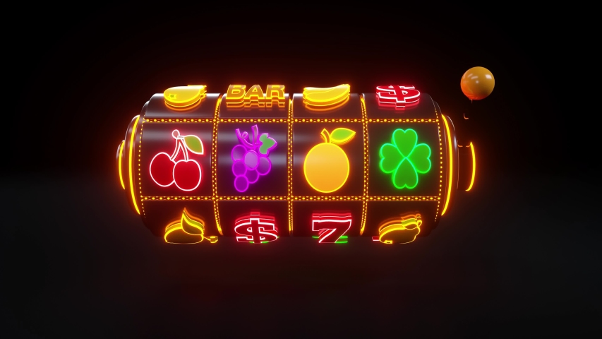 Slot Machine With Fruit Icons. Casino Slot Gambling Concept With Neon Lights - 3D Rendering