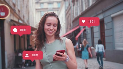 Young woman use phone feel happy at sunlight vlogger influencer animation with user interface - likes, followers, comments for social media from smartphone slow motion