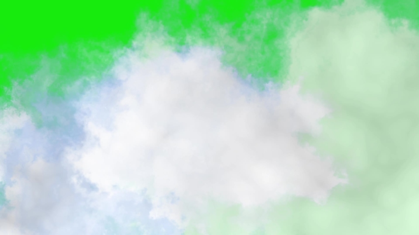 Clouds or smoke with green screen. clouds animation. smoke animation. fly through clouds.