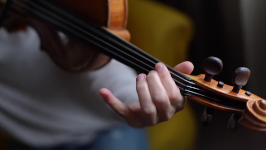 Woman violin musician playing at home, close-up in slow motion. Lovely young woman is practicing playing musical instrument at home. | Shutterstock HD Video #1040620457