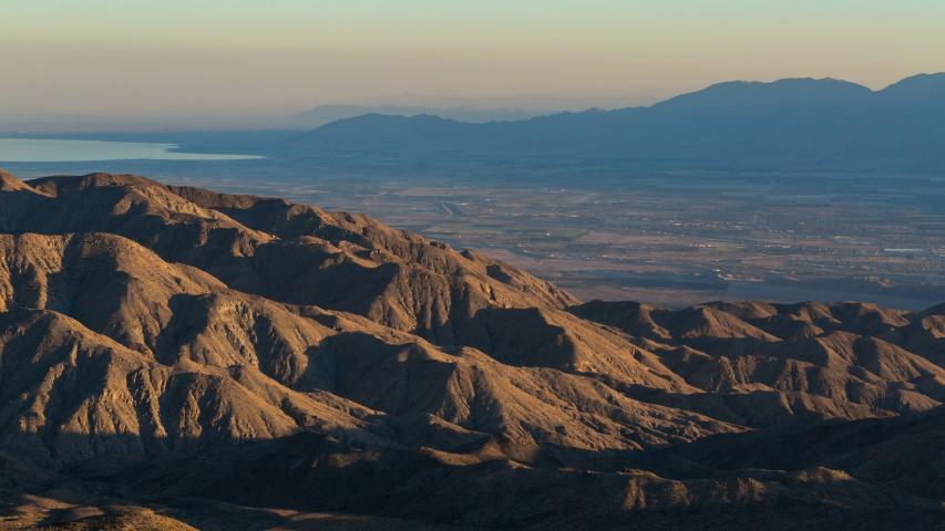 Timelapse overview of sunset illuminating Coachella Valley in California