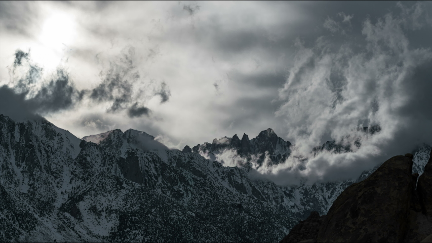 Timelapse of epic cloud formation over Mt. Whitney in Sierra Nevada Mountains in California in winter